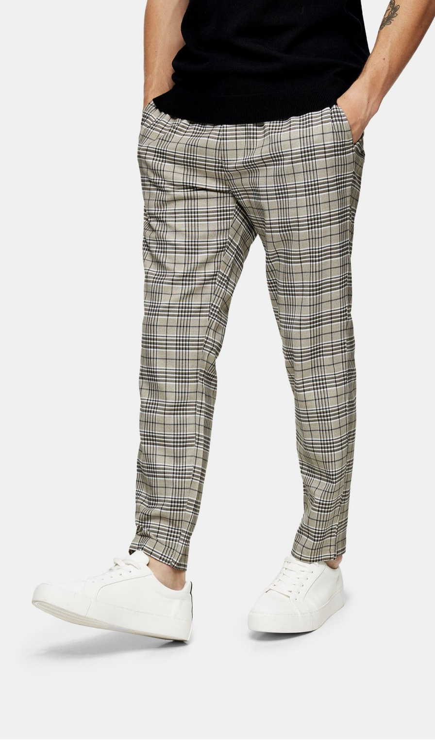 Neutral Check Joggers