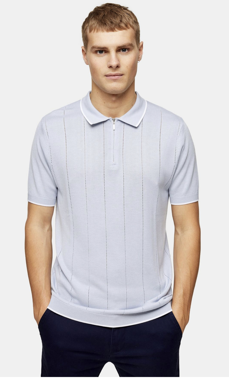 Light Blue Pointelle Zip Knitted Polo