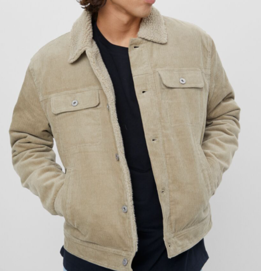 Corduroy faux shearling jacket
