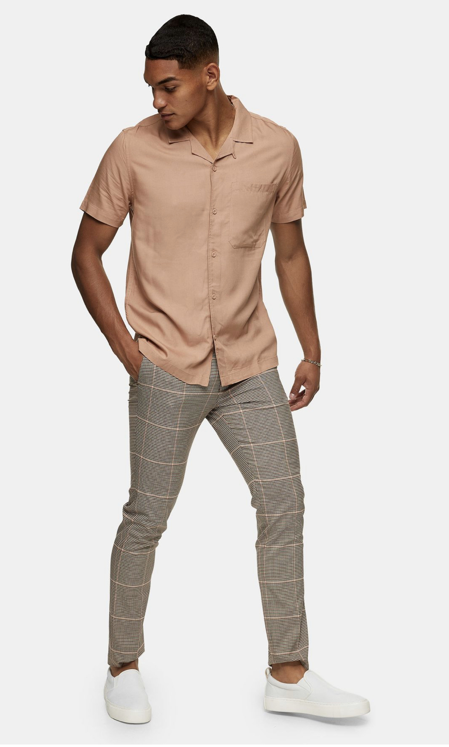 Pink Heritage Check Skinny Trousers