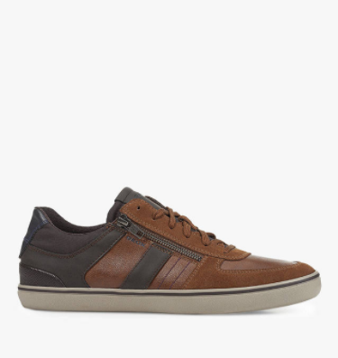 Geox Elver Leather & Suede Trainers, Brown/Dark Coffee