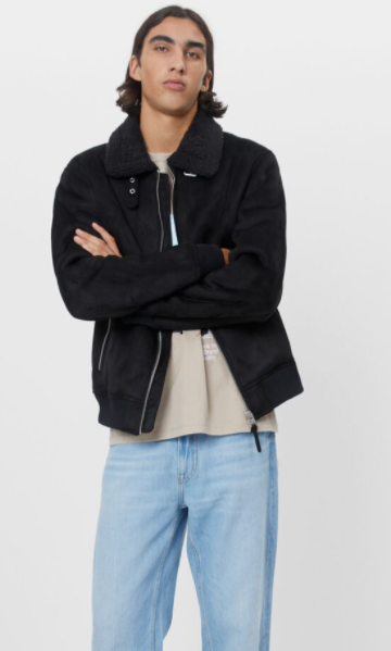 Suede faux shearling jacket