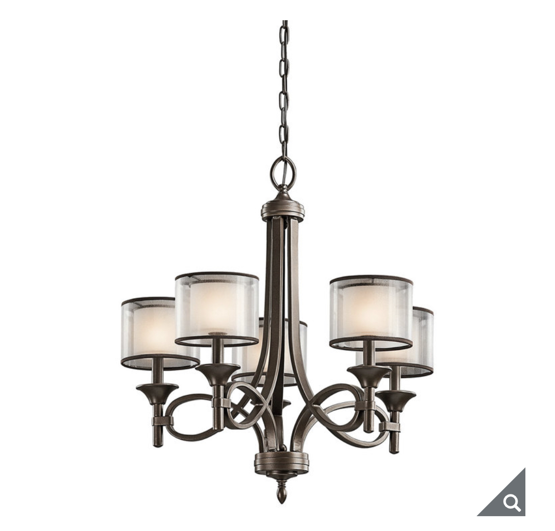 Kichler Lacey Five Light Chandelier Ceiling Light in Mission Bronze