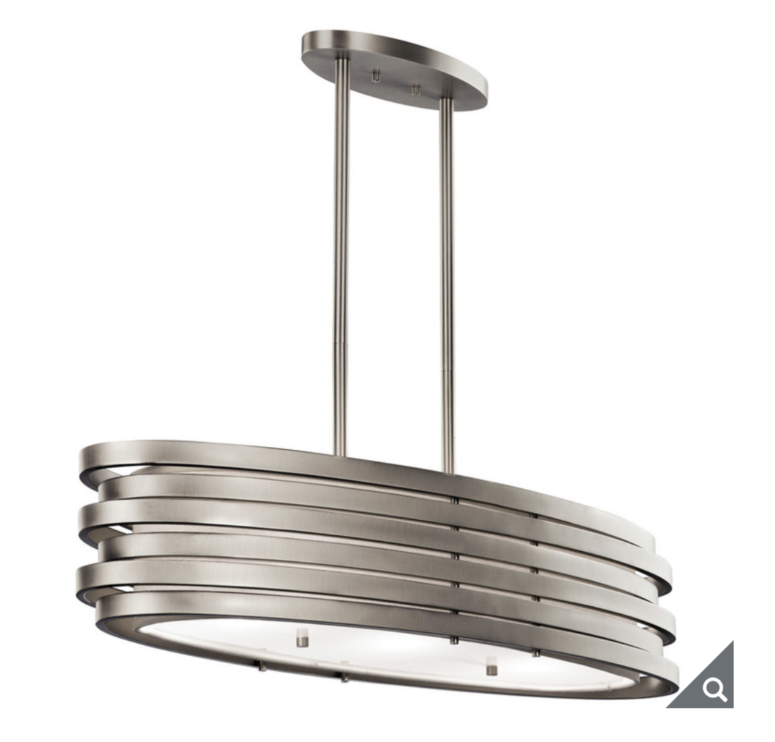 Kichler Roswell Three Light Oval Island Pendant Ceiling Light in Brushed Nickel