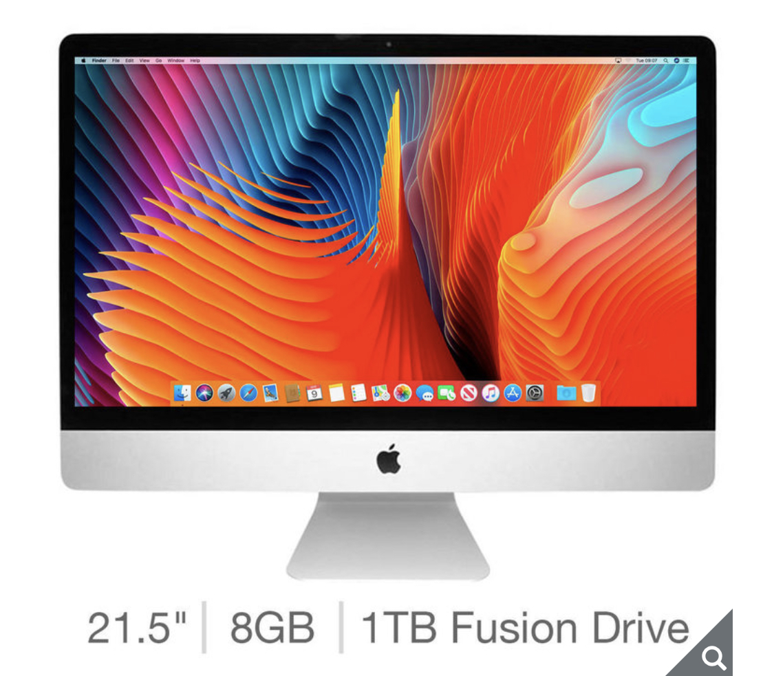 Apple iMac 2019, 21.5 Inch, 3GHz, Intel Core i5, 8GB RAM, 1TB Fusion Drive