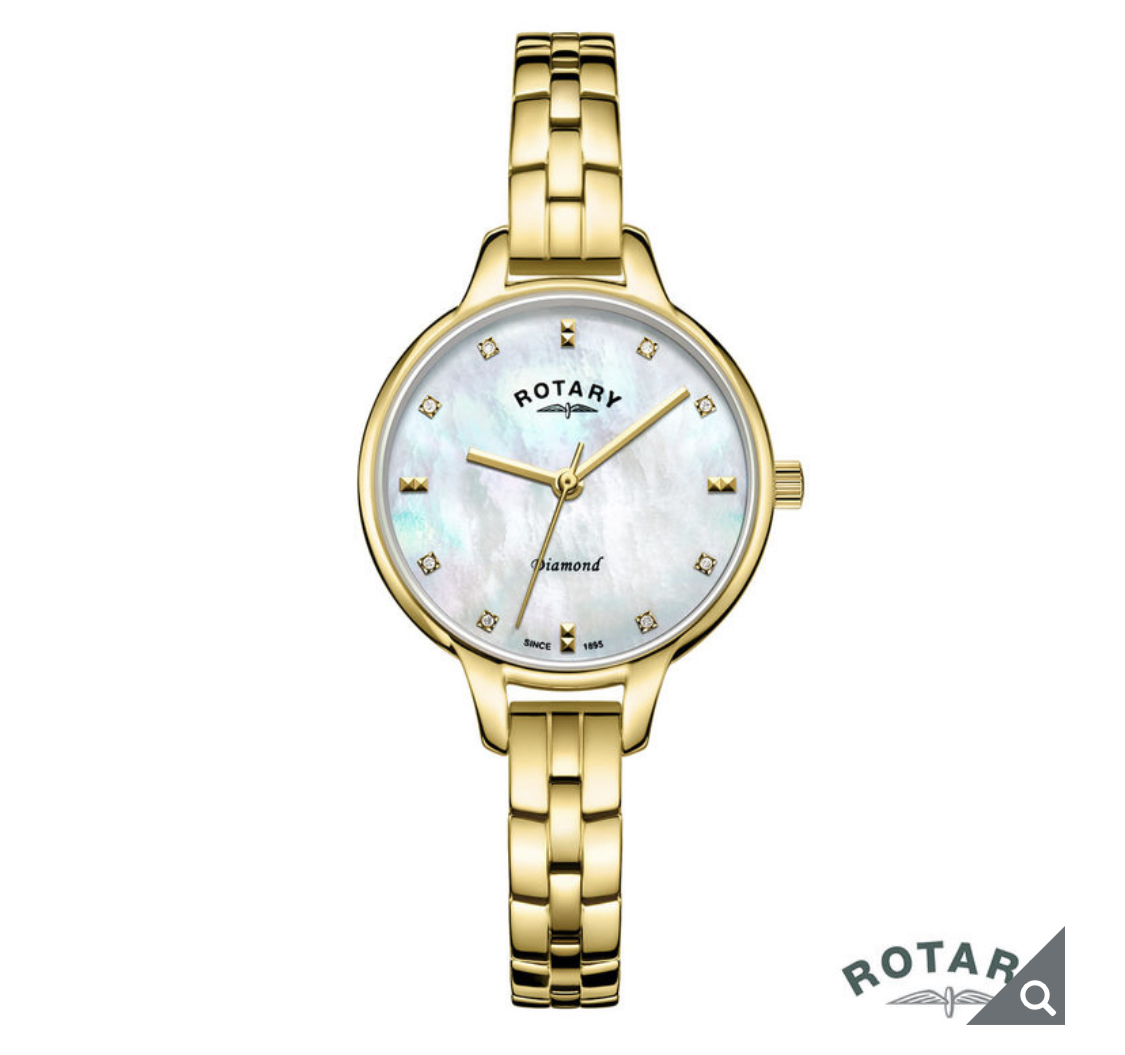 Rotary Ladies Gold Plated Bracelet Watch with Diamond Accents LB00106/41/D