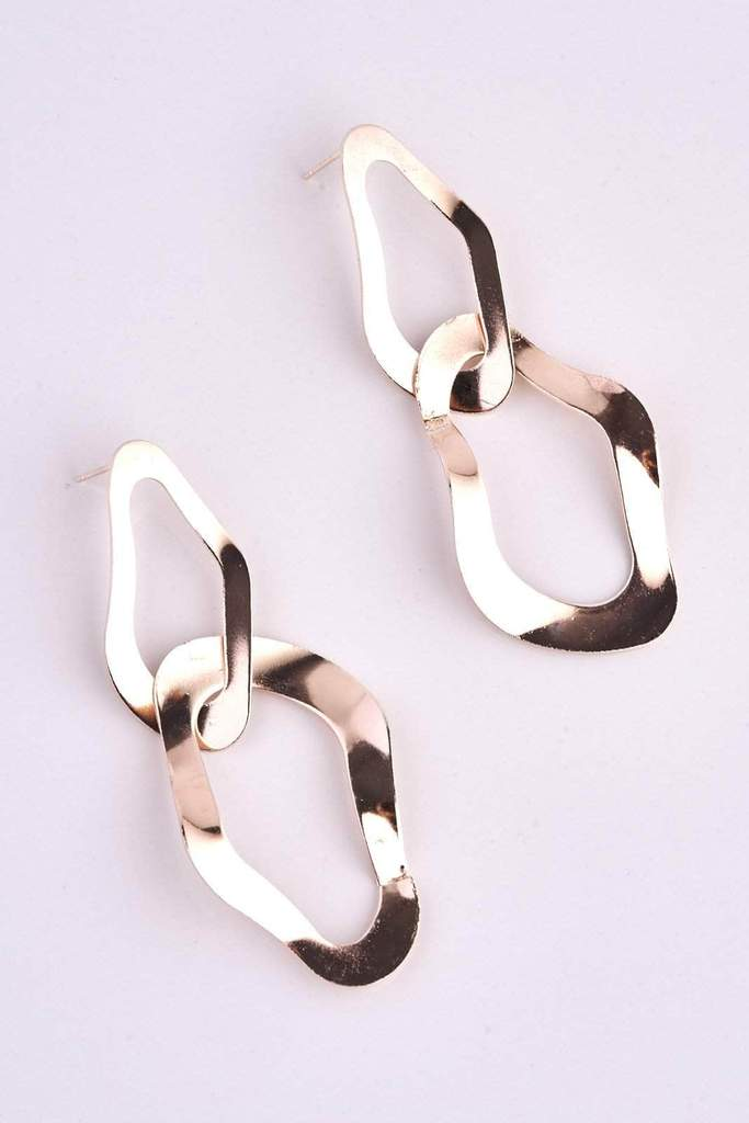 Rose Gold Hammered Drop Earrings