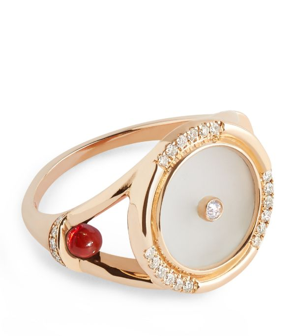 L'ATELIER NAWBAR Rose Gold, Diamond and Crystal de Roche Amulets of Light Ring