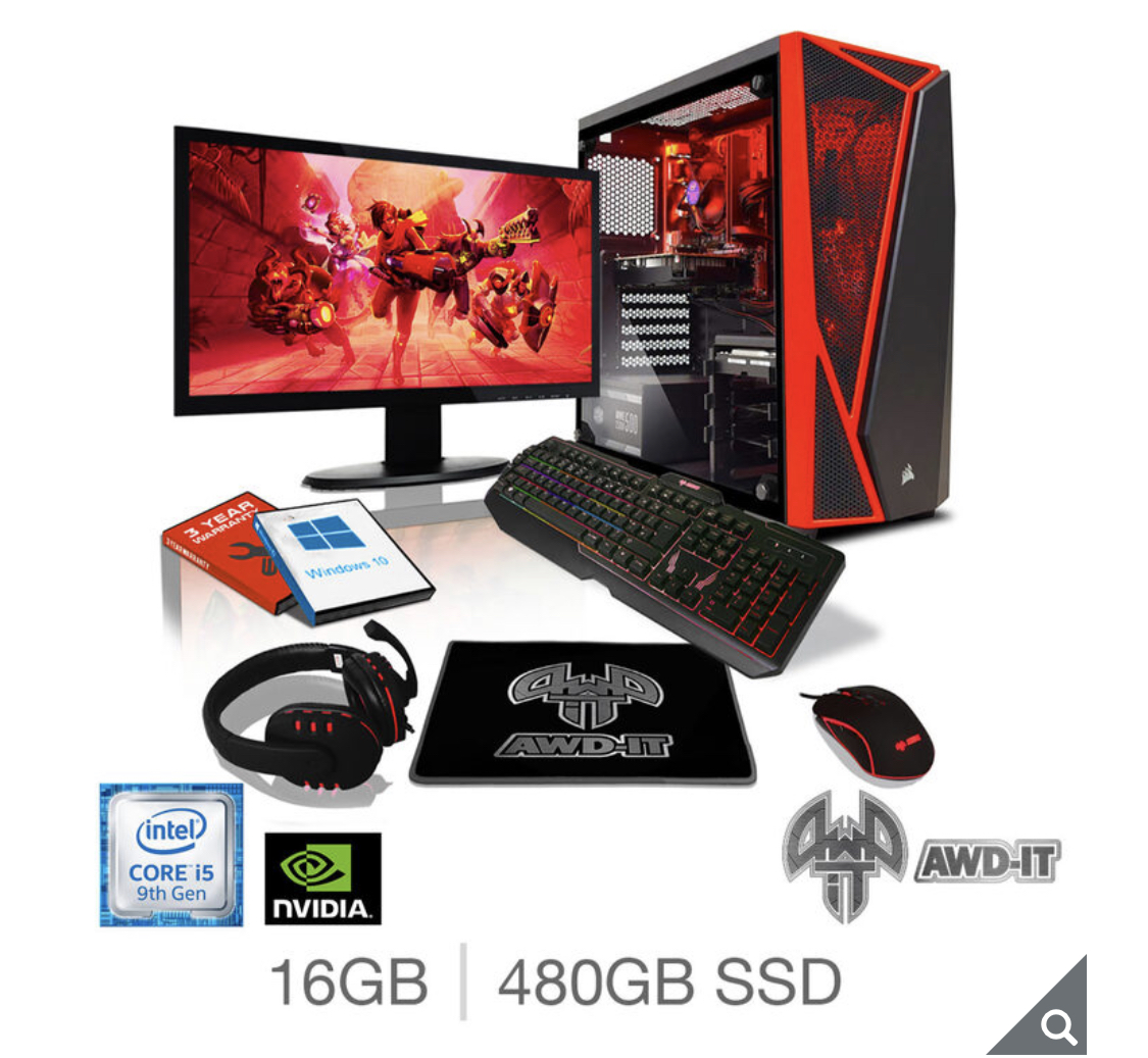 "AWD-IT Fury 5 Plus, Intel Core i5, 16GB RAM, 480GB SSD, NVIDIA GTX 1660 Super, Gaming Desktop PC with 23.6"" Full HD LED Widescreen Monitor, RGB Gaming Keyboard & Mouse Plus Headset & Mouse Pa"