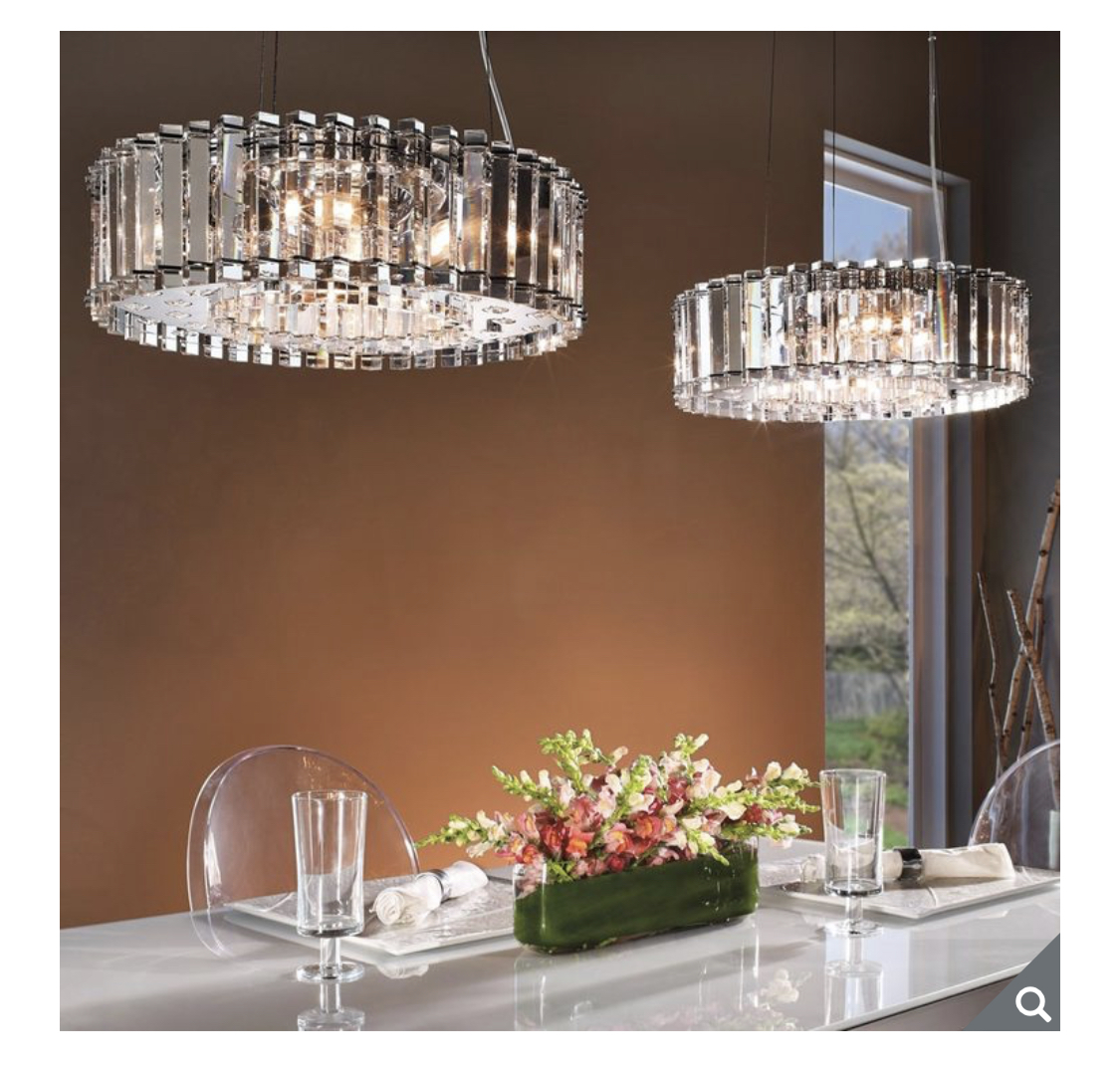Kichler Crystal Skye Six Light Pendant Ceiling Light in Crystal and Chrome