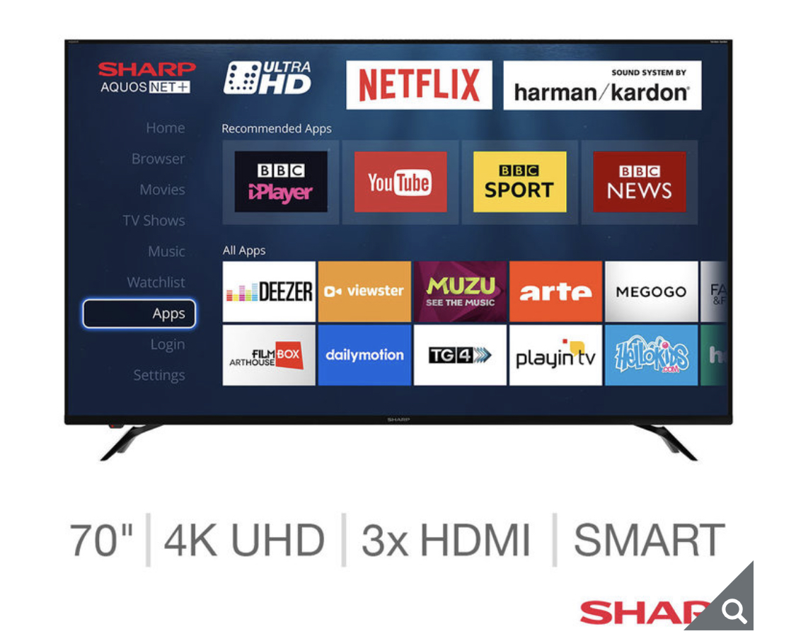 Sharp LC-70UI9362K 70 Inch 4K Ultra HD Smart LED TV