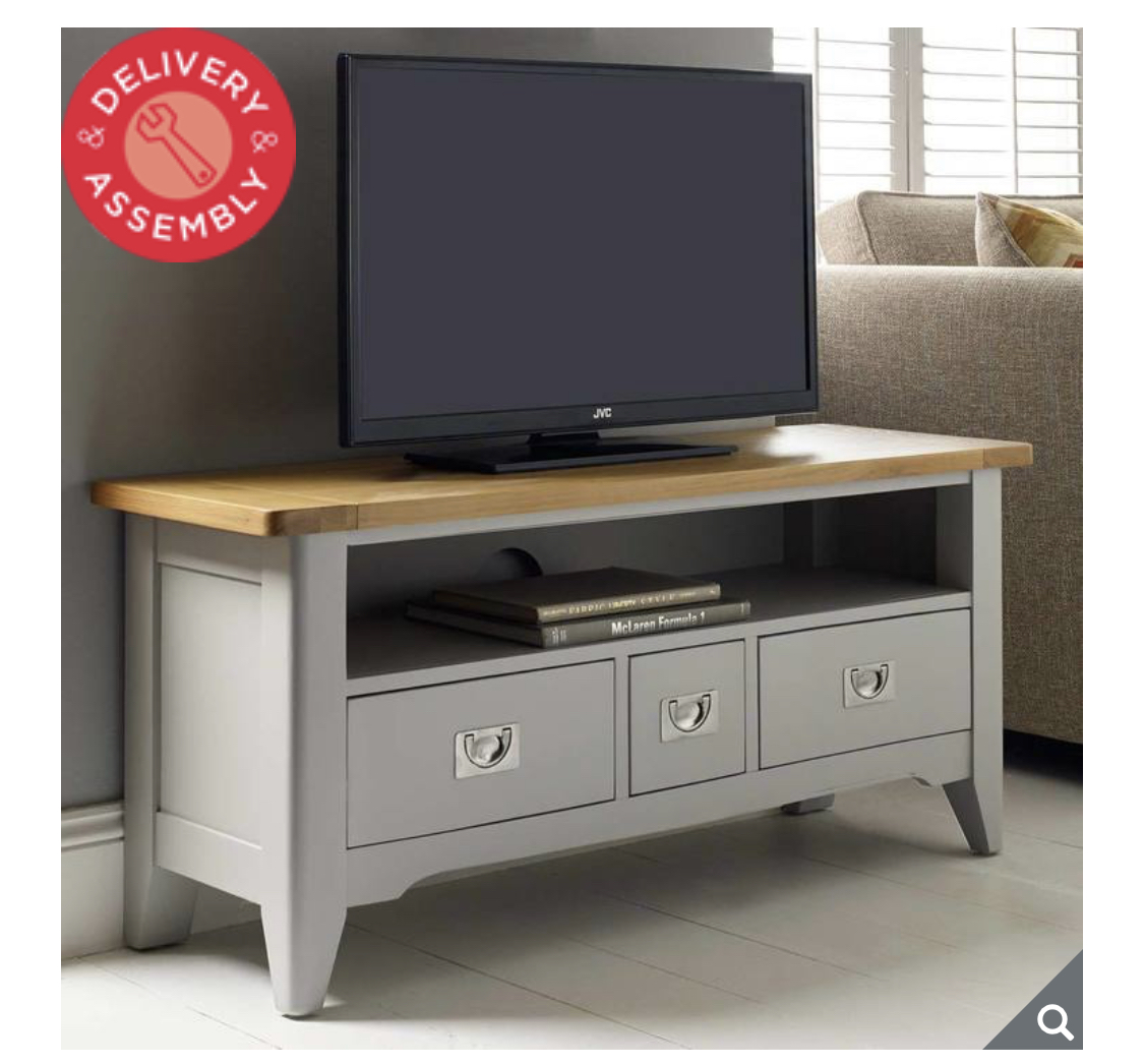 Bordeaux Painted Light Grey TV Stand For TVs Up To 49""