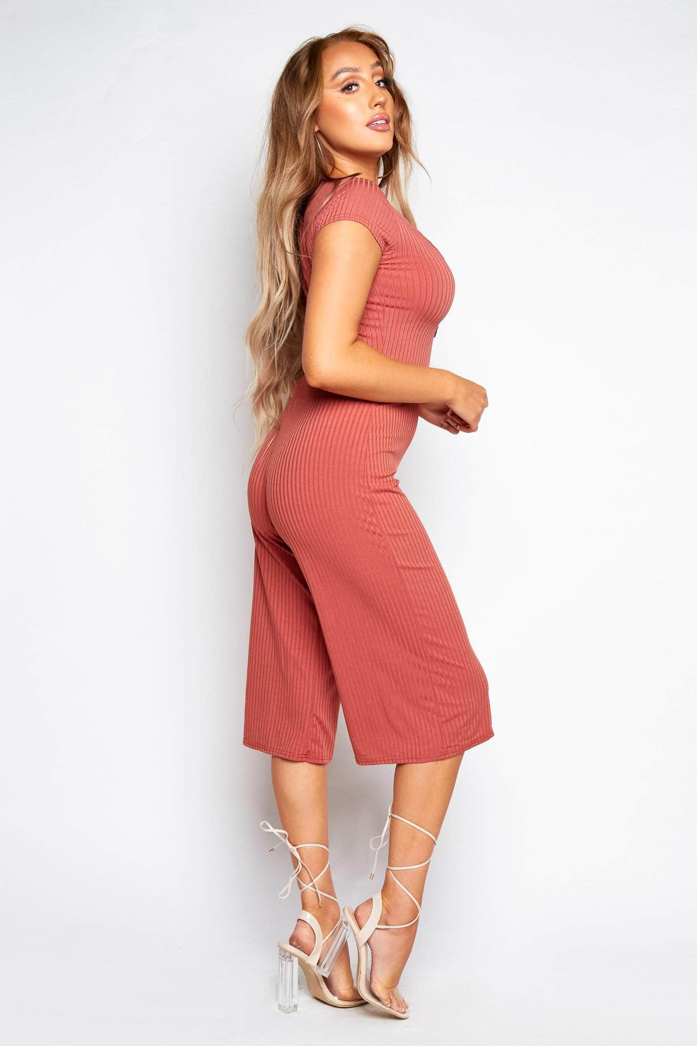 Rose Ribbed Button Down Culotte Jumpsuit