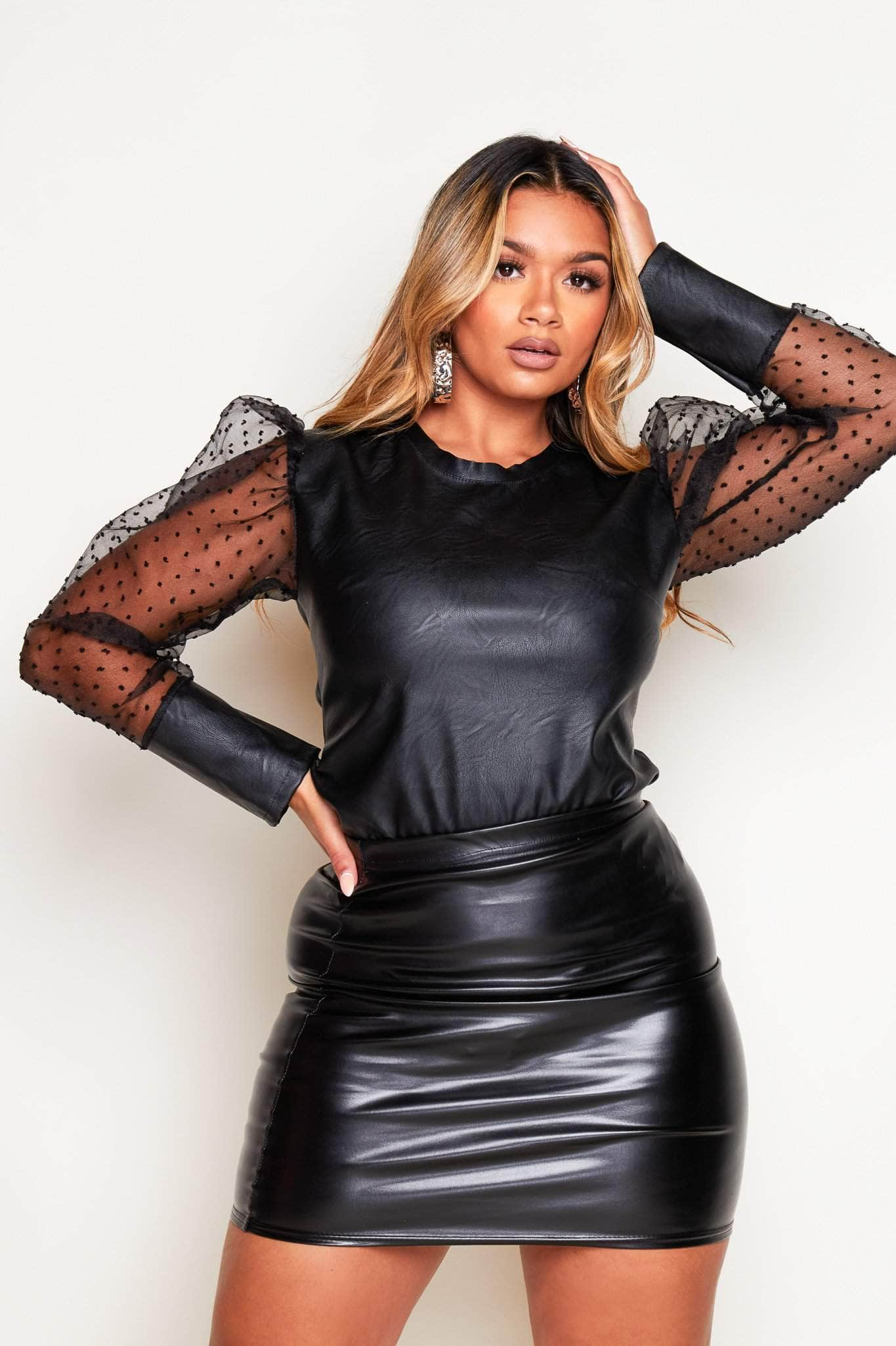 Black Leather Bodysuit with Dobby Mesh Sleeves